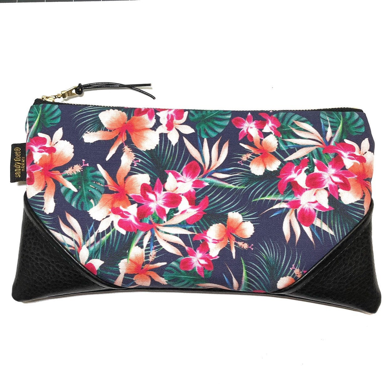 Large Hibiscus & Orchids Zipper Clutch