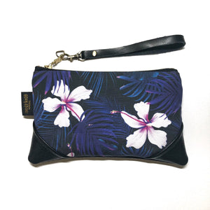 Mini Night Blooming Hibiscus Zipper Clutch