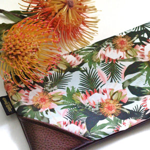 Large Proteas & Palm Zipper Clutch