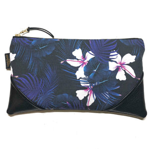 Large Night Blooming Hibiscus Zipper Clutch