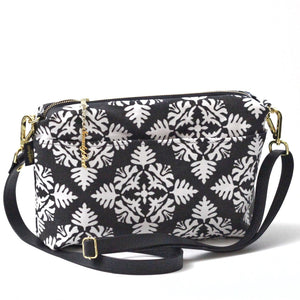 Black Hawaiian Quilt Large Crossbody