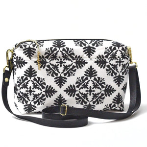 White Hawaiian Quilt Large Crossbody