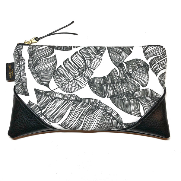 Large Black and White x Black Banana Leaf Paradise Zipper Clutch