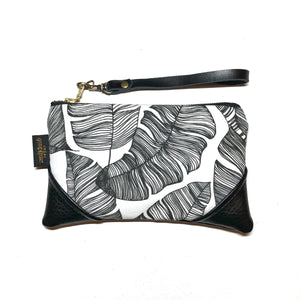 Mini Black and White Banana Leaf Paradise x Black Zipper Clutch