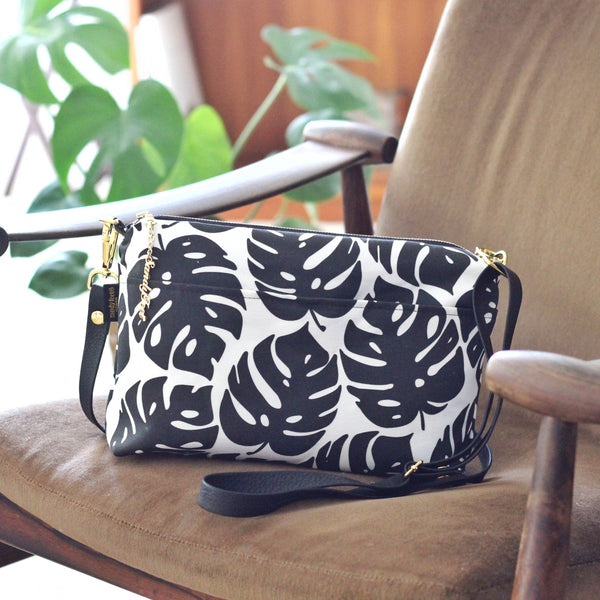 Black and White Monstera Large Crossbody
