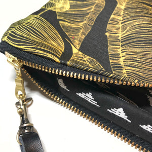 Large Blackout Black & Gold Banana Leaf Paradise Zipper Clutch