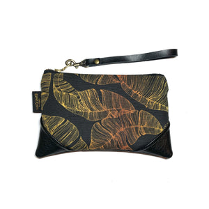 Mini Blackout Black & Gold Banana Leaf Paradise Zipper Clutch