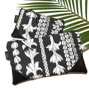 Large Blackout Large Scale Lei Aloha Zipper Clutch