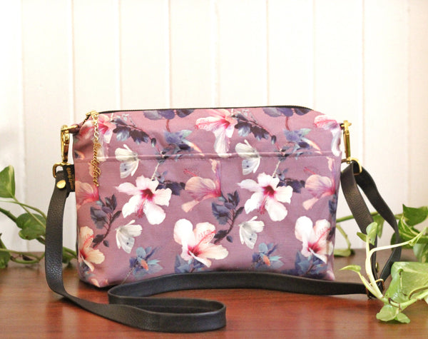 Hibiscus & Butterfly Large Crossbody