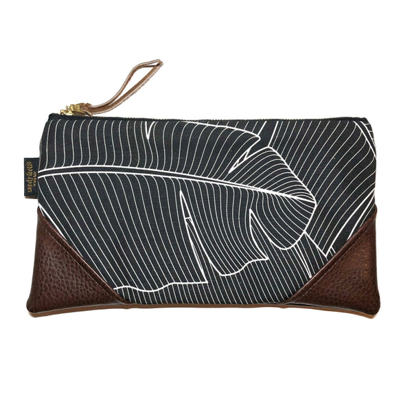 Large Black Banana Leaf Large Scale Zipper Clutch