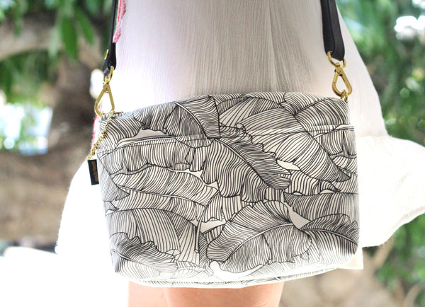 Black and White x Black Banana Leaf Paradise Large Crossbody