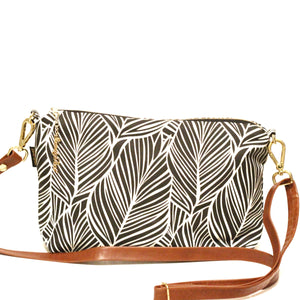 Black Banana Palm Large Crossbody Inside Pockets Only