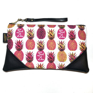 Large Pink on White Aloha Pineapple Zipper Clutch