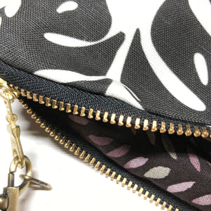 Large Black and White Monstera Zipper Clutch