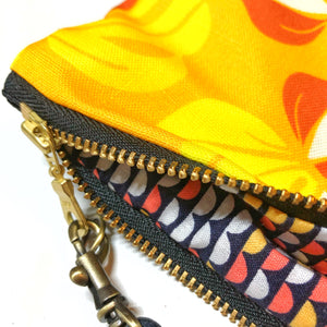 Mini Marigold Monstera Zipper Clutch