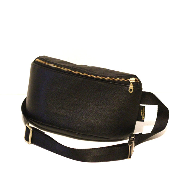 Black Genuine Leather Hip Pack