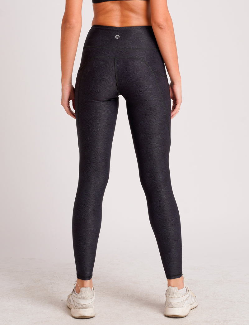 Zic Zac Dual Side Pockets Full Length Tights Invisible Black