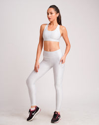 Zic Zac Dual Side Pockets Full Length Tights Invisible White