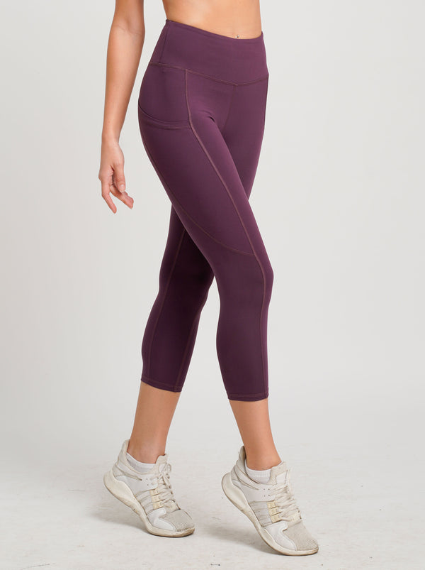 Freely Move Dual Side Pockets 3/4 Tights Sangria