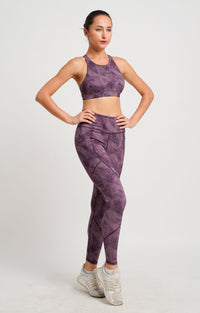 Charcoal Dual Side Pockets Full Length Tights Purple