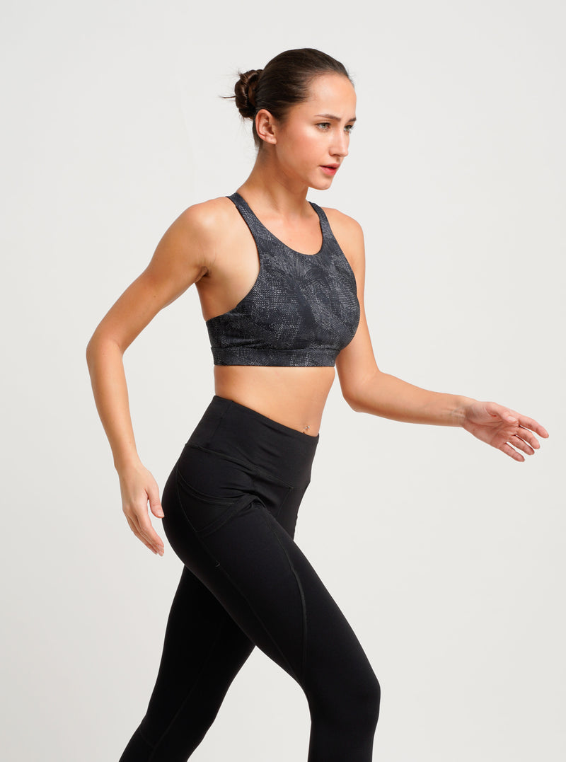 Charcoal Supportive Sports Bra Black