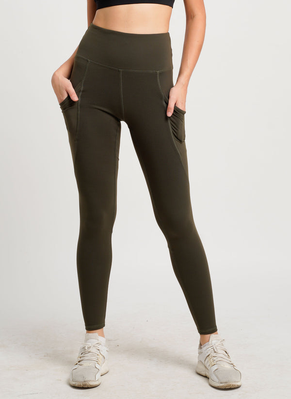 Anywhere Dual Side Pocket Tights High Rise Full Length Khaki