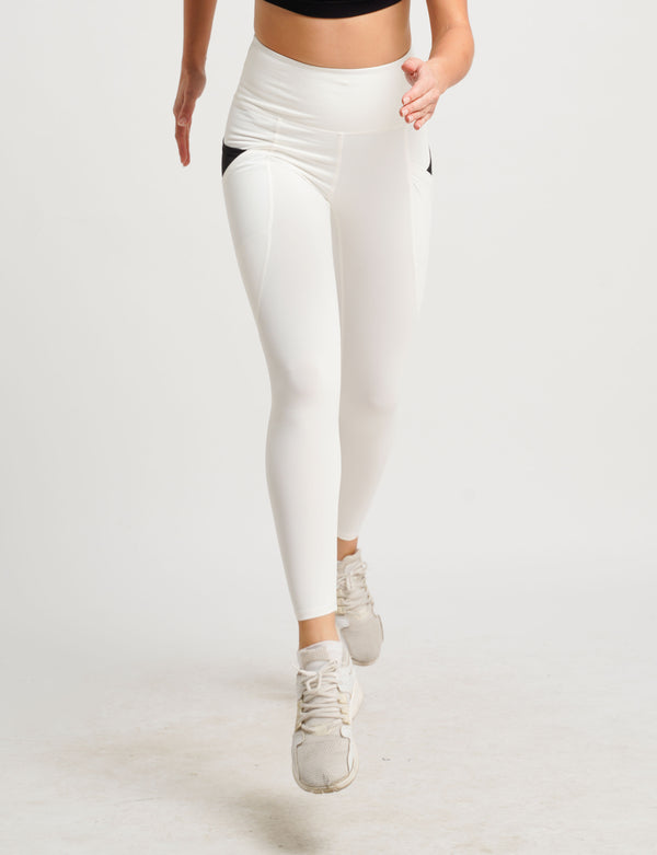 Anywhere Dual Side Pocket Tights High Rise Full Length White