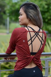 Twist Tank Top Long Sleeve Red