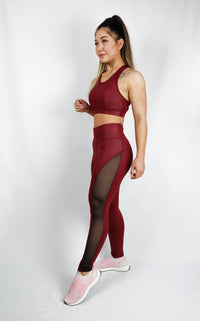 Deva Croptop Leather Look Burgundy