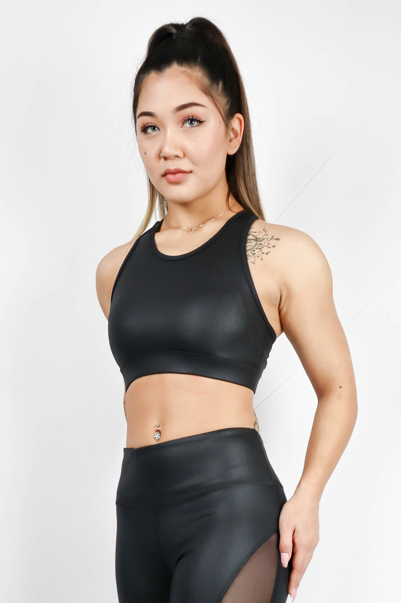 Deva Croptop Leather Look Emboss Black