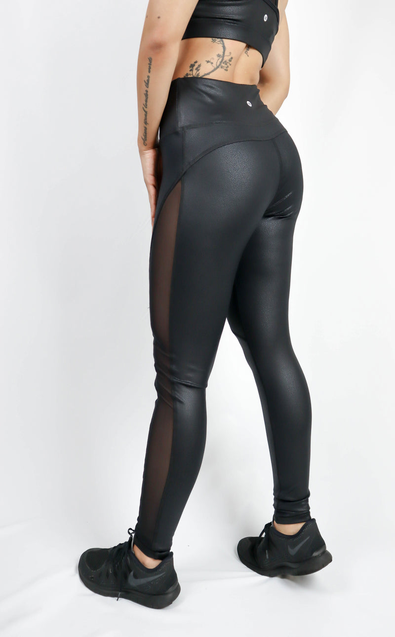 Deva High Wasit Full Length Tight Leather Look Emboss Black
