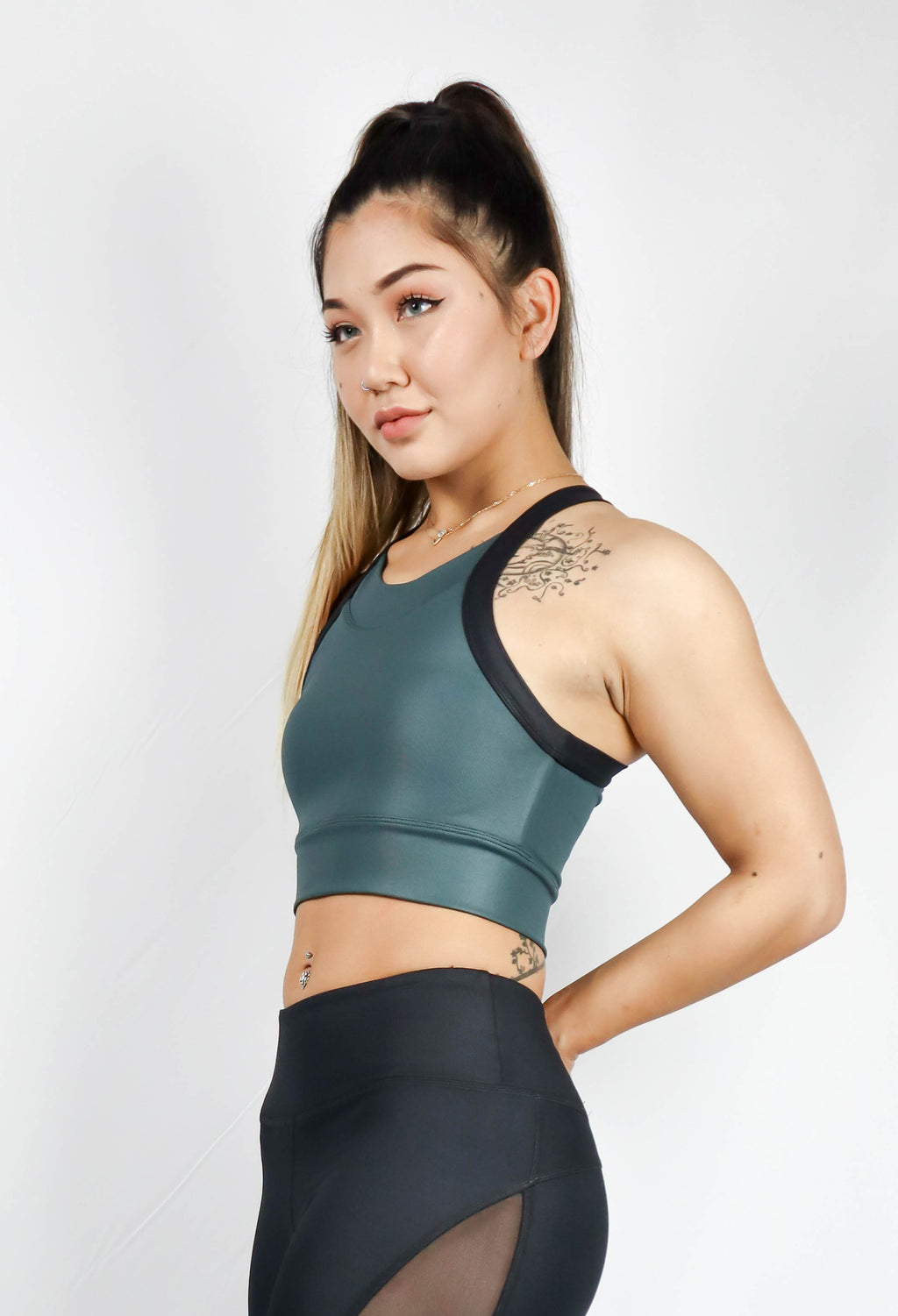 Guru Croptop Leather Look Dark Olive