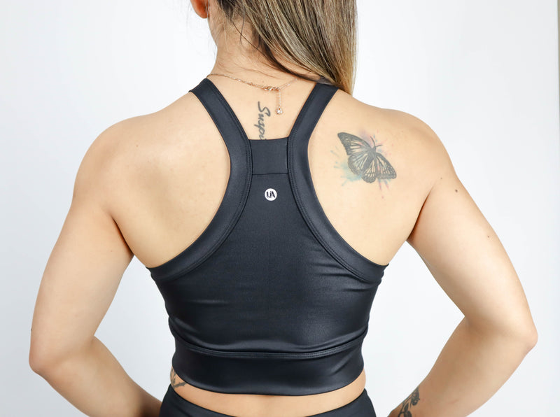 Guru Croptop Leather Look Black