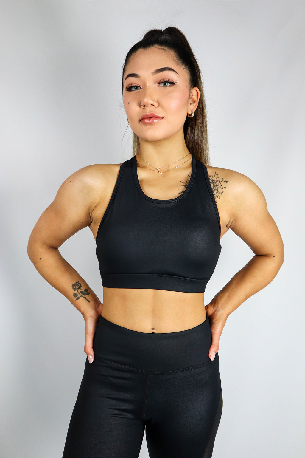 Deva Croptop Leather Look Black