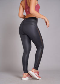 Deva High Wasit Full Length Tight Leather Look Black