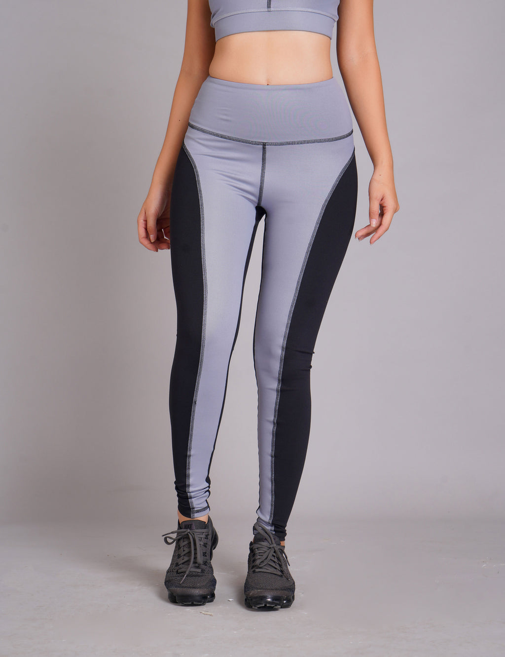 Guna High Waist Full Length Tight Leather Look Grey