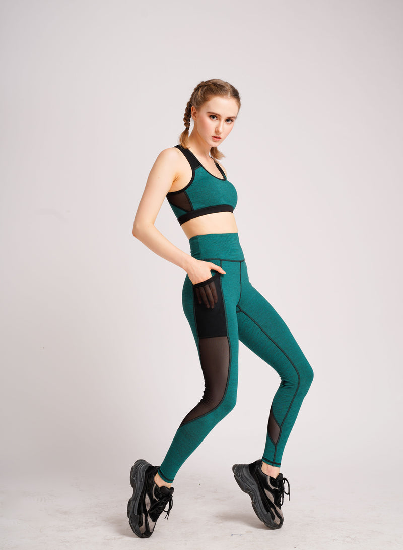 Glowy Sports Bra Green and Black Stripe