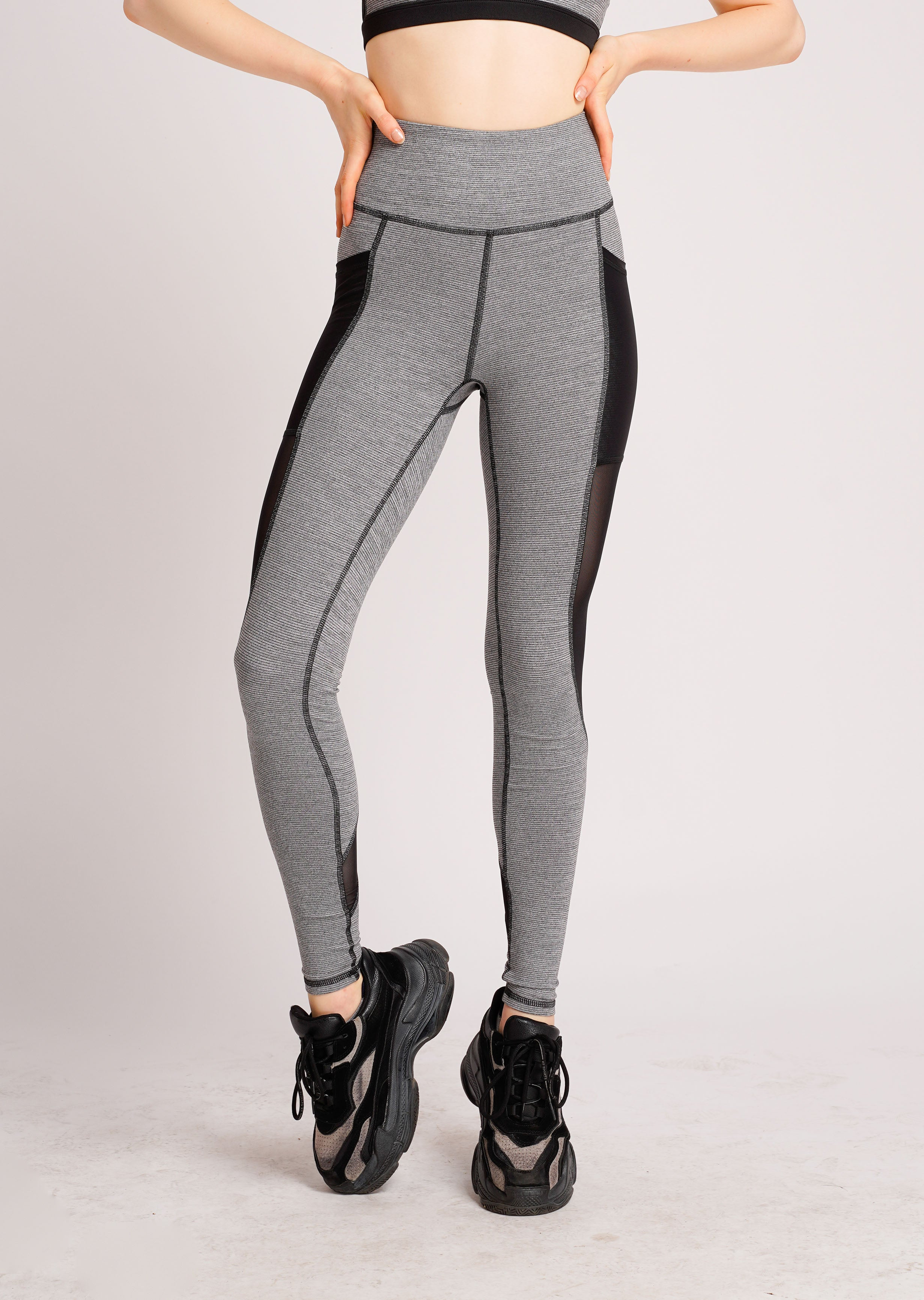 Glowy Dual Side Pocket Full Length Tights Grey Stripe