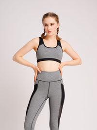 Glowy Sport Bra Grey Stripe