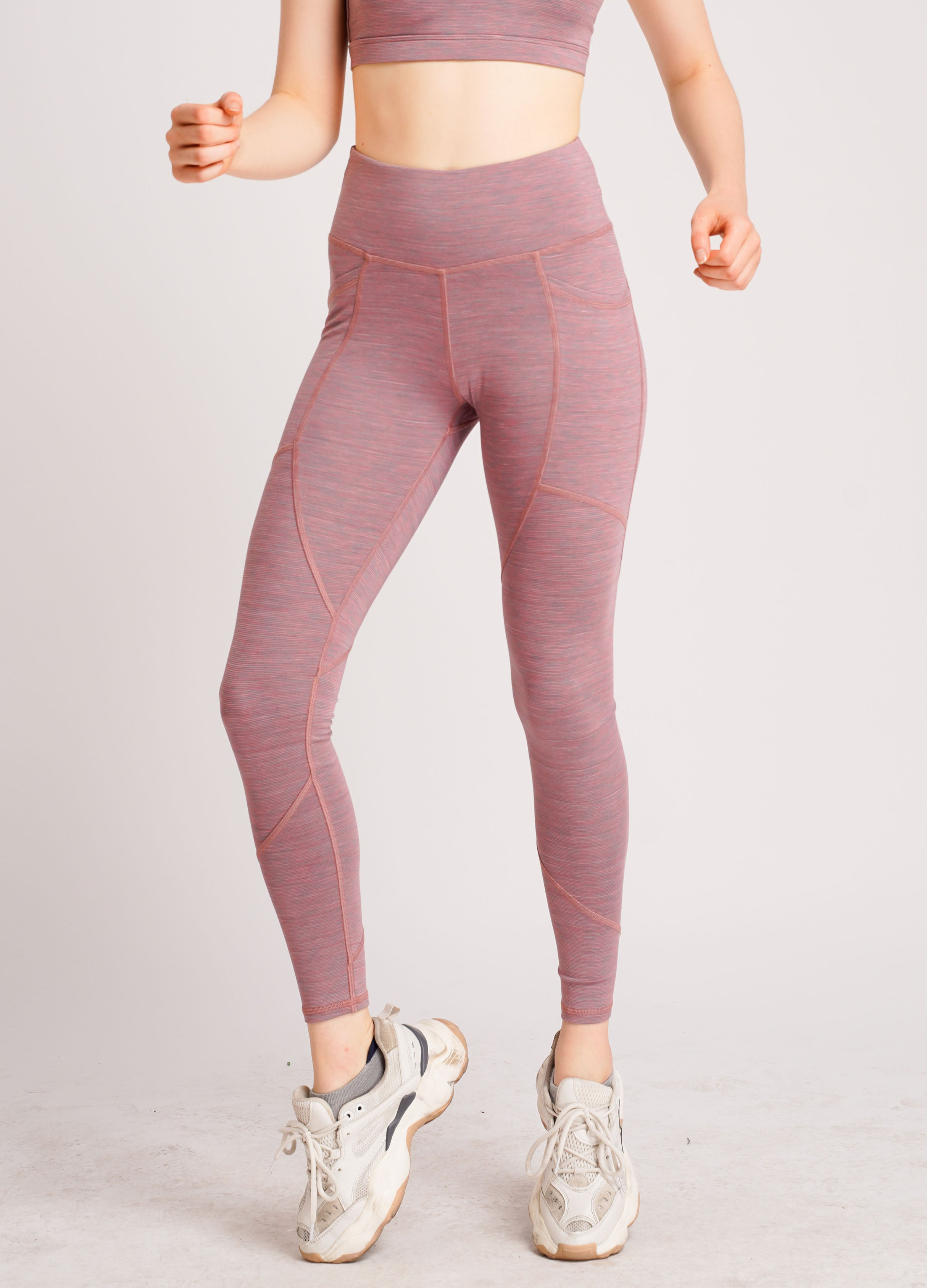 Power Dual Side Pocket Ankle Bite Tights Pinky Stripe