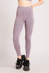Power Dual Side Pocket Ankle Bite Tights Violet Stripe