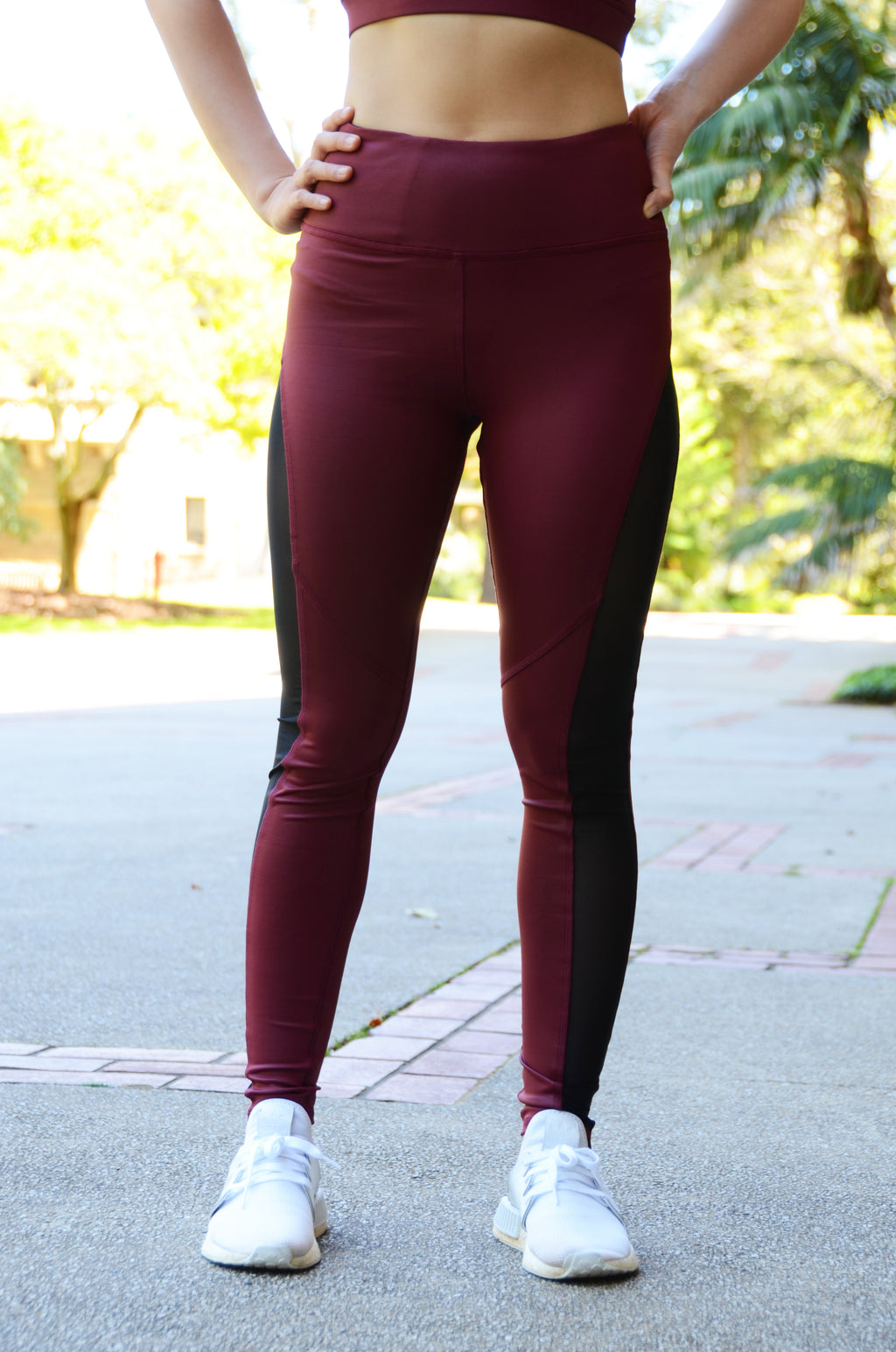 Deva High Waist Full Length Tights Leather Look Burgundy