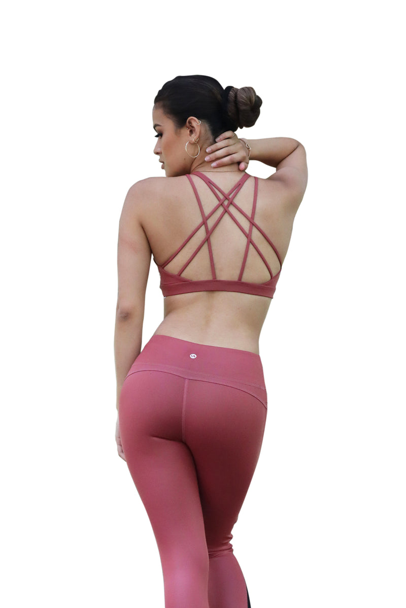 Asana Sports Bra Leather Look Coral