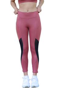 Asana High Waist Side Pockets 7/8 Tight Leather Look Coral