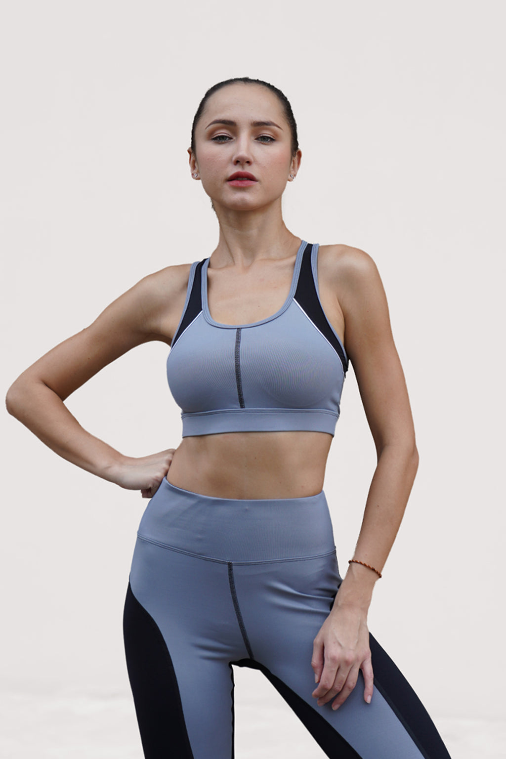 Guna Sports Bra Leather Look Light Grey