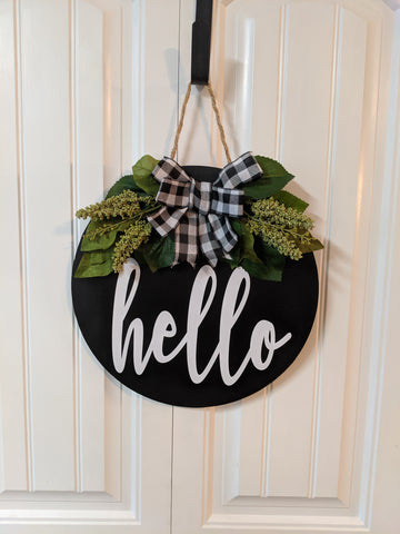 Hello Door Hanger with Gingham & Greenery