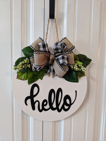 Hello Door Hanger with Burlap/gingham greenery