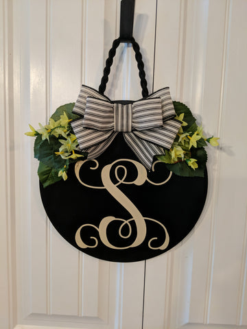 Black Initial Door Hanger with greenery