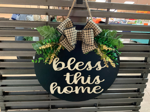 Bless this Home w/Greenery Door Hanger