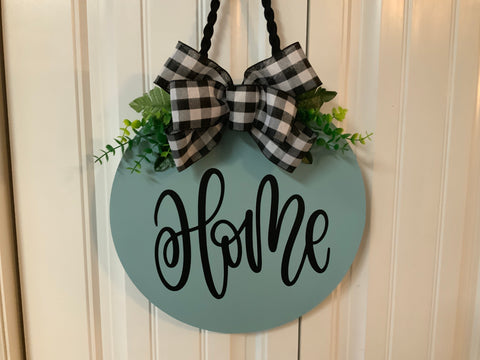 "Aqua ""Home"" with greenery door hanger"